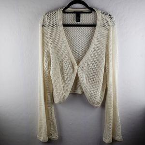 LANE BRYANT Cream Open Weave Bell Sleeve Cardigan